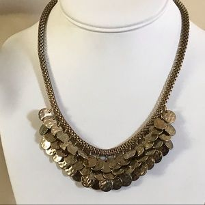 Jewelry - Layered gold hammer disk mesh statement necklace